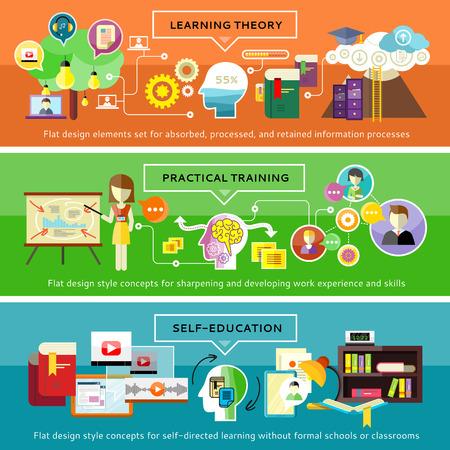 実用的な訓練の概念。ミッションの多くを処理する人間の脳。理論の学習、大学に留学します。すべての教師の教育。人材育成と自己教育と開発  イラスト・ベクター素材