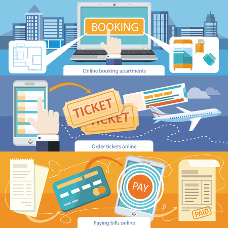 Paying bills payments online credit banner concept with buttons registration and about us. Online accommodation booking concept on modern technology device laptop in flat web design. Buy ticket online