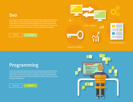 Male computer programmer sitting in a chair in front of computer at table and programming on computer on his workplace. SEO optimization, programming process and web analytics elements in flat design Vector