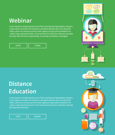 Webinar, distance education and learning. Online courses in web school. Knowledge and information. Study process. E-learning concept. Banners in flat design with place for text and butoons Vector