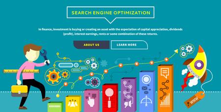 SEO optimalisatie, programmering en web analytics elementen in plat design. Man met de koffer en heerser stijgt op de ladder. Concept met tekst en knoppen Stock Illustratie