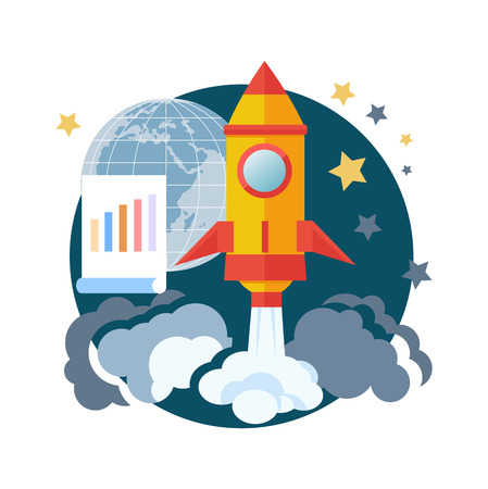 Business start up idea template. Start up rocket idea icon. New business project start up, launching new product or service in flat design Vector
