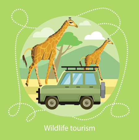 jeep: Wildlife Tourism. Jeep on the background of the mountains near the giraffes in the savanna. Icon of Traveling, Vacation. For web banners, marketing and promotional materials, presentation templates Illustration