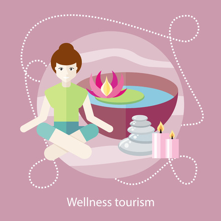Wellness tourism. Woman sitting in the lotus position in a beauty and spa salon. For web banners, marketing and promotional materials, presentation templates Vector