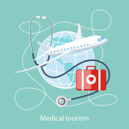 Platte design stijl moderne concept van de medische diensten in het buitenland, samen met de rest. Medische stethoscoop over de hele wereld, vliegtuig en arts tas met een rood hart. Medisch toerisme