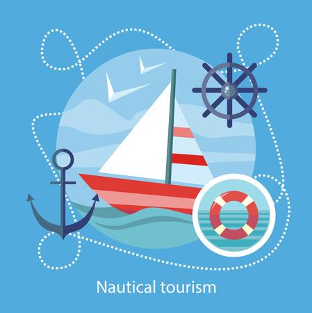 맑고 푸른 물에 배를 항해. 해상 관광. 여행의 아이콘, 관광 여름 휴가를 계획. 웹 배너, 마케팅 및 홍보 자료, 프리젠 테이션 템플릿