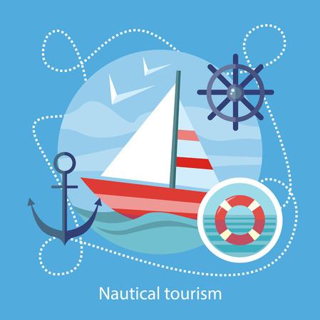 Sailing vessel in clear blue water. Nautical tourism. Icons of traveling, planning summer vacation, tourism. For web banners, marketing and promotional materials, presentation templates