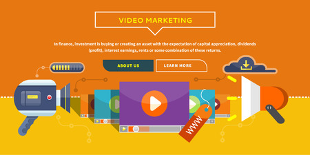 Video Marketing. Approaches methods and measures to promote products and services based on video. Business concept for web banner presentation. Working with digital content and advertising. Illustration