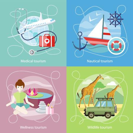 sailing vessel: Turismo Vida Silvestre. El turismo de bienestar. Estilo de dise�o plano moderno concepto de servicios m�dicos en el extranjero, junto con el resto. Velero en el agua azul clara. El turismo n�utico