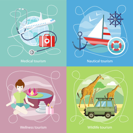 sailing vessel: Wildlife Tourism. Wellness tourism. Flat design style modern concept of medical services abroad, along with the rest. Sailing vessel in clear blue water. Nautical tourism