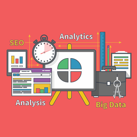 parameters: Stand with charts and parameters. Business concept of analyticsr. Analysis big data seo. Can be used for web banners, marketing and promotional materials, presentation templates