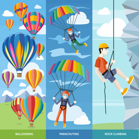 parachute jump: Happy peoples plans with parachute. Man doing rock climbing. Colorful hot air balloons flying over the mountain. Icons of traveling, planning summer vacation, tourism and journey objects