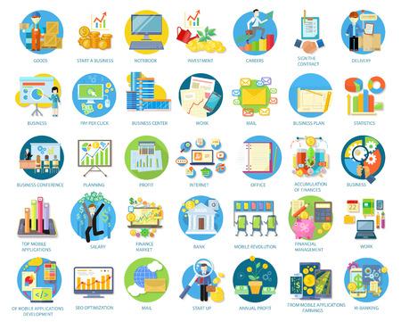 Conjunto de iconos redondos de negocios en diferentes elementos, como plan de negocios, estadísticas, conferencias de negocios, planificación, principales aplicaciones móviles, ganancias de aplicaciones móviles en plano sobre fondo blanco Ilustración de vector