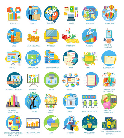 Set of busines round icons in different items such as business plan, statistics, business conference, balooning, top mobile applications, earnings from mobile applications in flat on white background Ilustracja