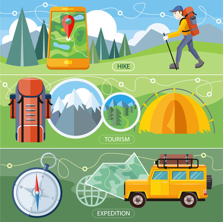 hiking trail: Man traveler with backpack hiking equipment walking in mountains. Off-road car with map and compass on road. Investigation untouched corners nature. Camping tourism tent near the forest and mountains Illustration