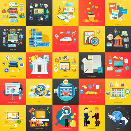 Set van business concepten productpresentatie, zoeken investeerders, te bevorderen, online winkelen, zoeken naar investeerders, opstarten, budgetplanning, tankstation, business center in platte ontwerp op banners
