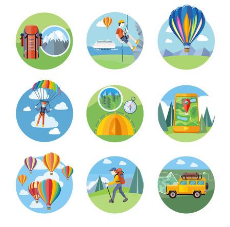fallschirm: Gl�ckliche V�lker plant mit Fallschirm. Man tut Klettern. Bunte Hei�luftballons fliegen �ber den Berg. Mann Reisenden mit Rucksack Wandern. Gel�ndewagen mit Karte und Kompass auf der Stra�e Illustration