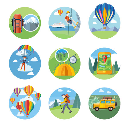 climbing: Los pueblos felices planes con paracaídas. Hombre que hace la escalada en roca. Coloridos globos de aire caliente volando sobre la montaña. El hombre que viaja con mochila senderismo. Coche campo con mapa y brújula en el camino Vectores