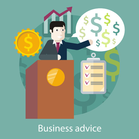 style advice: Concept of reason for a business meeting. Business advice. Cartoon speaker on the podium. For web design, analytics, graphic design, in flat design style.