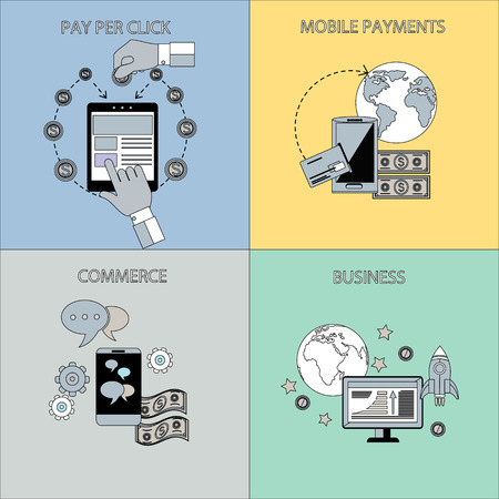 pay money: Icon set in flat design of business start up, commerce, mobile payment and pay per click concepts. Globe with smartphone, monitor and money in stroke icons. For web site construction, banners