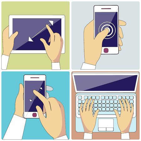 multitouch: Set with hands typing on keyboard of laptop, hold smartphone showing some of multitouch gestures in flat design. Stroke icons concepts in monochrome colors. For web site construction, banners