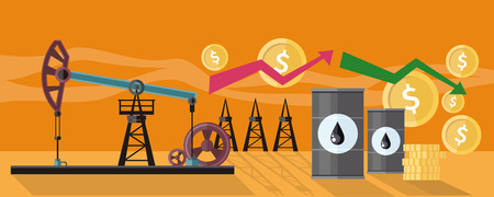 money concept: Illustration of oil production. Graphic changes in oil prices on the oil pump yellow field background. For web banners, promotional materials, presentation templates Illustration