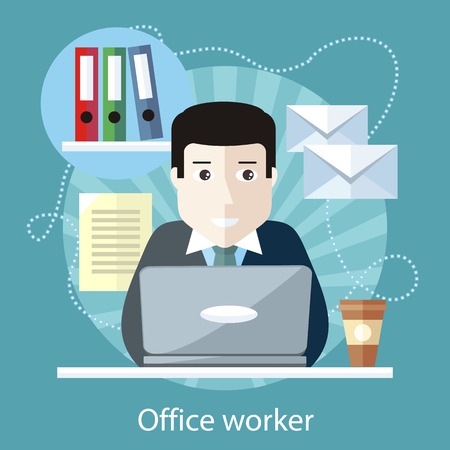 online business: Office worker sitting at table in front of computer on the stylish colored background. Activity field of freelancer. Flat design cartoon style for web design, analytics, graphic design