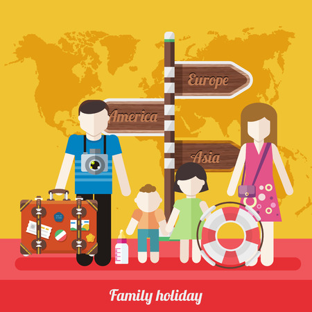 family trip: Happy family trip traveling. Parents with their children going for vacations around the world Europe, America, Asia. Concept in flat design on background with world map. Family holiday