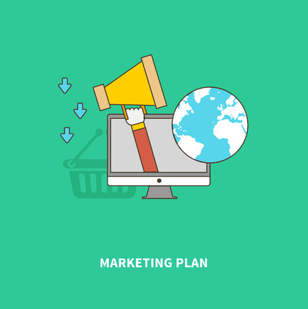 global finance: Concept of business process. Marketing plan and Advertise of the product on a global scale. For web design, analytics, graphic design and in flat design on colored background