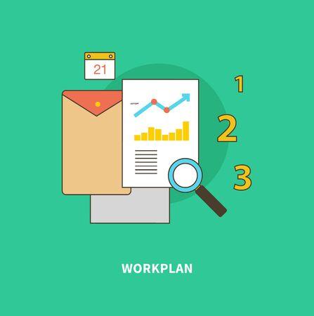 Concepto de pasos del proceso de negocio, worlflow. Formación del plan de trabajo. Para analítica web diseño diseño gráfico y de diseño plano sobre fondo de color