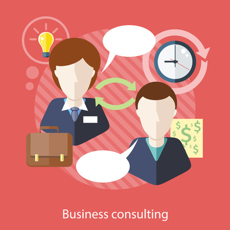 consultant: Business consulting. Concept with text.  Businessman and female consultant with speech bubbles. Icons for web design, analytics, graphic design and in flat design