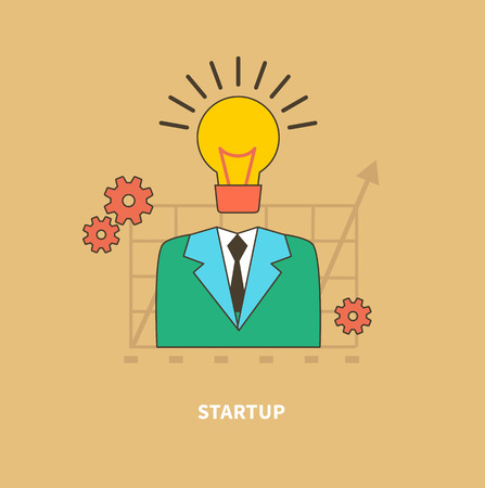 eureka: Concept of business process, worlflow. Idea as the beginning of a startup. Eureka. A man with a head lamp. For web design, analytics, graphic design and in flat design on colored background Illustration
