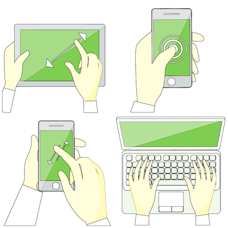 Set with hands typing on keyboard of laptop, hold smartphone showing some of multitouch gestures in flat design. Stroke icons concepts in monochrome colors on white. For web site construction, banners Illustration