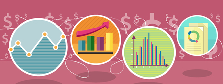 information icon: Different types of charts that show changes of share prices. Round color icons. Design concept. For web site construction, mobile applications, banners, corporate brochures, book covers, layouts etc.