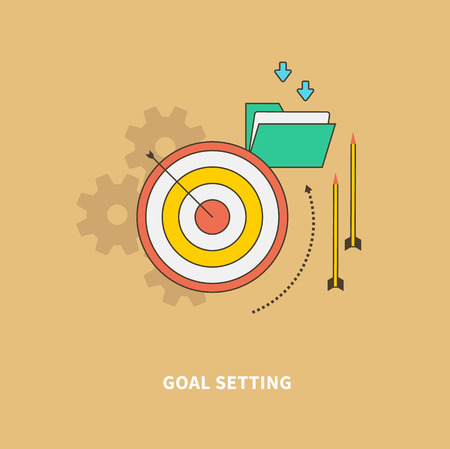 Het concept van de stappen van het bedrijfsproces, worlflow. Eerste fase is het stellen van doelen. Voor webdesign analytics grafisch ontwerp en in platte ontwerp op gekleurde achtergrond