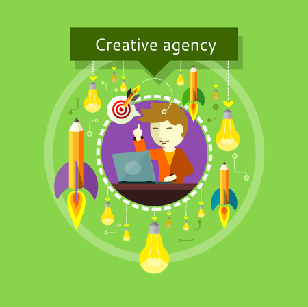 working in office: Concept of Creative agency. Employee raised a finger up. Eureka. Bulbs and pencils with flames around. For web site construction, applications, banners, corporate brochures, book covers, layouts etc.
