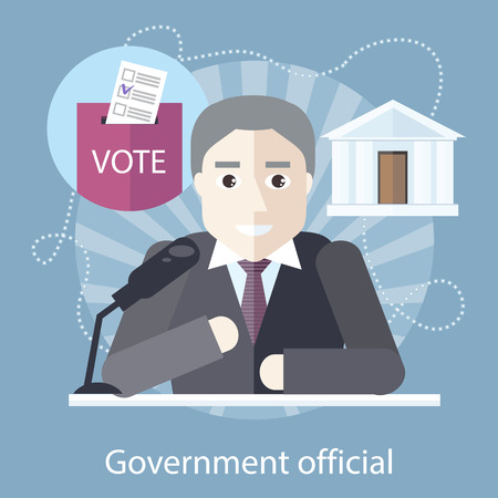 Government official at the table in front of a microphone on the stylish colored background. Activity field of freelancer. Flat design cartoon style for web design, analytics, graphic design