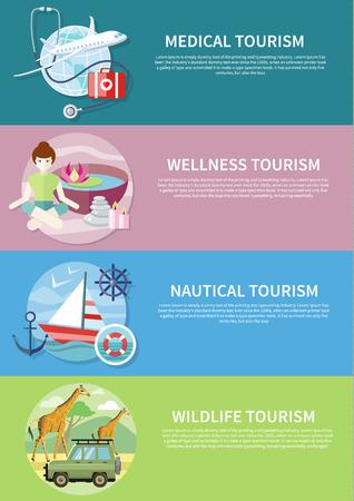 bagagli: Turismo Wildlife. Turismo del benessere. Appartamento stile di disegno moderno concetto di servizi medici all'estero, insieme al resto. Imbarcazione di navigazione in acque cristalline. Turismo nautico su striscioni