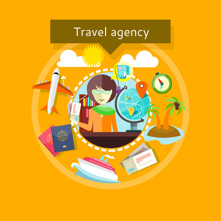 travel agent: Concept of Travel agency. Lady agent with tickets in her hands and types of travel around. For web site construction, mobile applications, banners, corporate brochures, book covers, layouts etc. Illustration