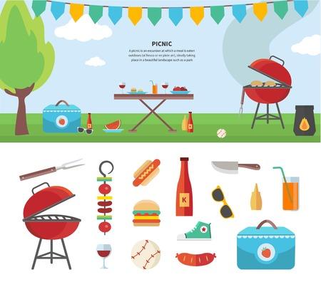 chorizos asados: Plantilla de vacaciones de verano con los accesorios de picnic al aire libre de verano, la ilustración y el conjunto de iconos diseño plano de viajar, de vacaciones. Para banners web, material promocional, plantillas de presentación