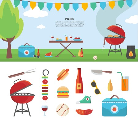 bbq picnic: Summertime holiday template with picnic outdoor summer accessories, illustration and icon set flat design of traveling, holiday. For web banners, promotional materials, presentation templates