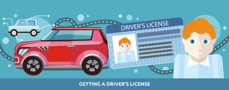 driver license: Cartoons man with driver license on the background of modern red car and road. Flat cartoon design style. For web banners, promotional materials, presentation templates Illustration