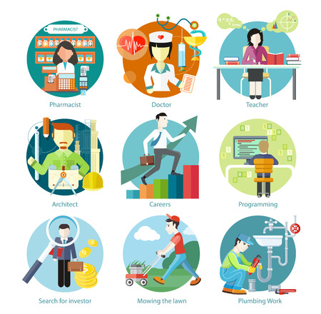 Set of circle colorful icons with different professions in trendy flat style. Teacher, doctor, architect, pharmatist, investor.  Template elements for web and mobile applications Ilustração