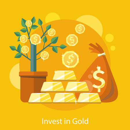 gold bullion: Investments in Gold. Dollar tree grows in pot and bag of money.  Investments idea icon in flat design on the stylish background with coins and gold bullion. For web design, graphic design