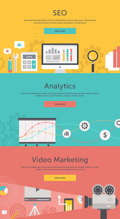 approaches: SEO optimization, programming process and web analytics elements in flat design. Video marketing. Approaches, methods and measures to promote products and services based on video