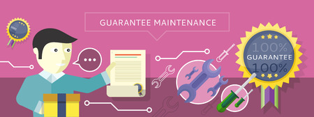 provide: Concept to provide service guarantees maintenance. Man holding a document Guarantee on the purple background. For web banners, promotional materials, presentation templates