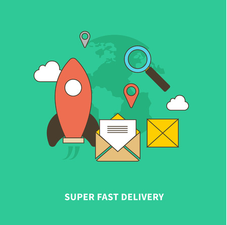 fast delivery: Concept of super fast delivery. Super fast and accurate. Flat design vector illustration. For web site construction, mobile applications, banners, corporate brochures, book covers, layouts etc.