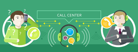 Professions concept of call centre operator with headset and client asks question. In the middle headset and speech bubbles on green background. Client services and communication. Individual approach Vectores