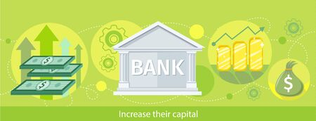 purchasing manager: Increase their capital. Detailed horizontal web banner of the bank as a traditional investor on the stylish colored background with notes, diagrams, money. In flat design