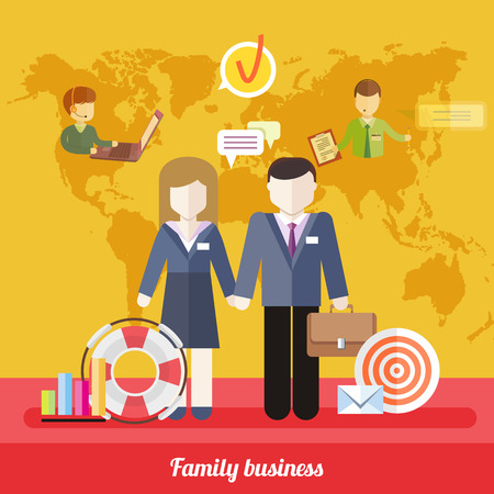 family life: Business job icons in flat design around famile. Business job family concept. Balance between work and family life. Husband and wife holding each others hands on background with world business map